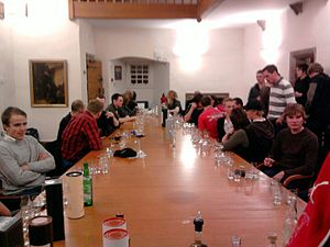 English: Whisky Society boardroom table lookin...