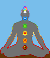 Silhouette of the human figure in lotus posture, external line is rainbow colored, figure has seven chakras located in their respective place.