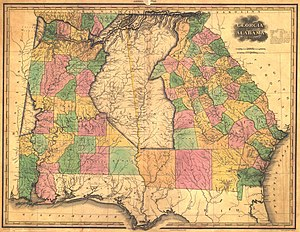 1828 Map showing the counties and the Native American territories.