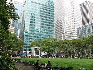 English: Looking northwest in Bryant Park at l...