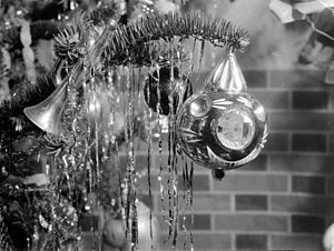 Christmas ornaments on a Christmas tree.