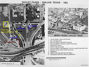 English: Aerial map of Dealey Plaza in Dallas,...
