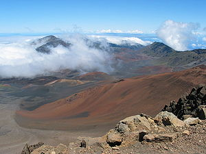 Looking into Haleakalā Crater