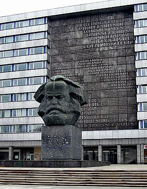 "Karl Marx memorial in Chemnitz; called ""N..."