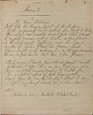 "English: Manuscript of the sonnet ""The Ne..."