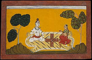Hindu deities Shiva and Parvati playing chaupar