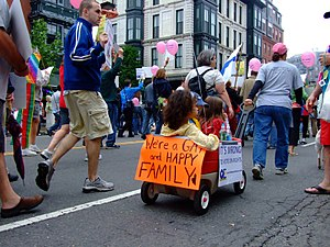 "Wagon with poster ""We're a GAY and HAPPY ..."