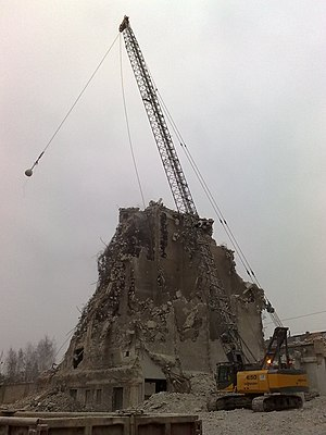 Wrecking ball at work during the demolition of...