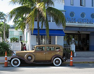A vintage Packard car parked in front of the P...
