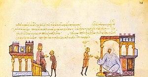 Simeon I of Bulgaria sending envoys to the Fat...