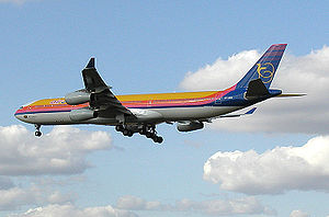 Air Jamaica Airbus A340 landing at London Heat...