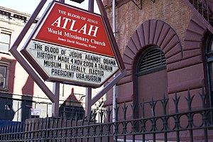 Sign outside the Atlah church in Harlem, New York