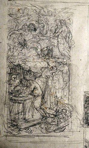 """Friedrich Geselschap (1835-1898), Zeichnung, Szene aus dem Künstlerleben: """"Künstlers Elend"""" verso: Studie zu """"Dante"""", 1853, Galerie Saxonia, Frieidrich Geselschap 117. (c) via commons.wikimedia.org gemeinfrei"""