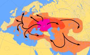 Map diagramming the expansion of Kurgan Cultur...