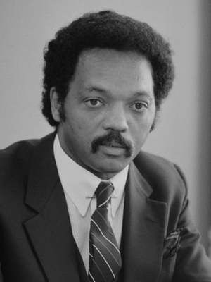 Jesse Jackson speaking during an interview in ...