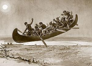 La chasse galerie, Illustration from Henri Jul...