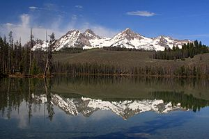 Mountains in the Sawtooth Range reflected on L...