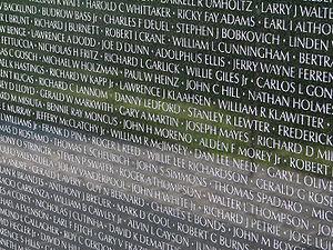 Names of Vietnam veterans at Vietnam Veterans ...