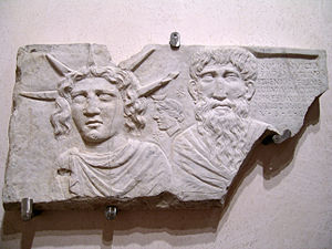English: Sol Invictus and Jupiter Dolichenus. ...