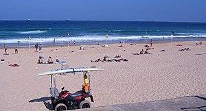 Surf lifesaving signs, main beach at Newcastle...