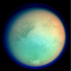 Titan shown in ultraviolet and infrared wavele...
