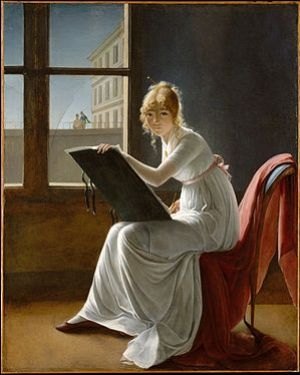 Marie-Denise Villers, Young Woman Drawing, 180...