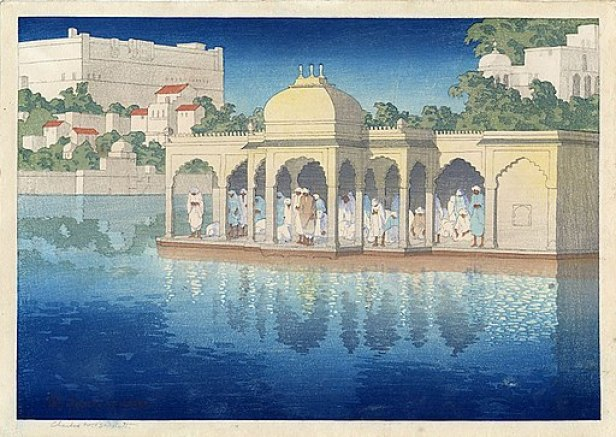 'Prayers at Sunset, Udaipur, India', woodblock print by Charles W. Bartlett, 1919, Honolulu Academy of Arts