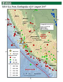 Main shock and aftershocks map