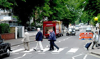 English: Abbey Road The pedestrian-crossing ne...