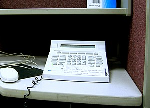 A typical call centre telephone. Note: no hand...