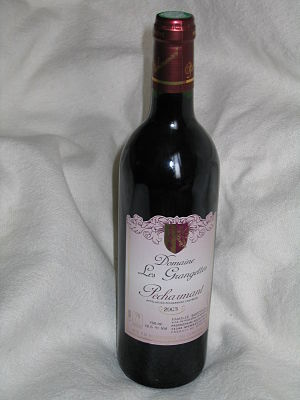 A bottle of Pécharmant wine
