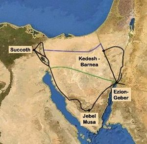 Possible Exodus Routes. In black is the tradit...