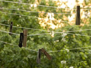 """English: Clothes pegs, hanging on """"dedica..."""