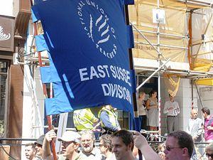 English: June 30 protestors in Brighton from t...