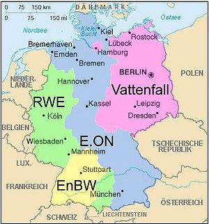 Deutschlandkarte der Regelzonen der deutschen ...