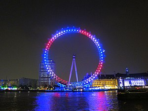 English: London Eye on Royal Wedding day