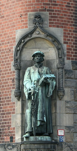 Statue of Huldrych Zwingli on the corner of th...