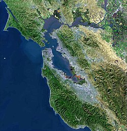 USGS satellite photo of the San Francisco Bay Area.  (Click the image for a description of major features.)