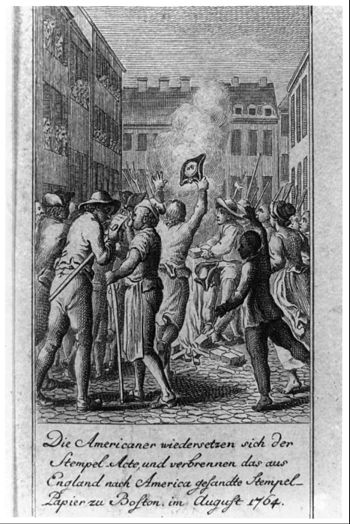 The American defy the stamp act and burn the s...