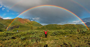 English: Full featured double rainbow in Wrang...