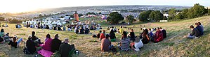 English: View over the Glastonbury Festival, t...
