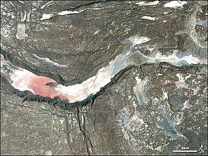 Infrared-enhanced satellite image of a graben ...