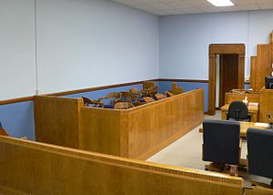 Jury box in courtroom of Hamilton County court...