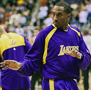 Kobe Bryant warming up for a game against the ...