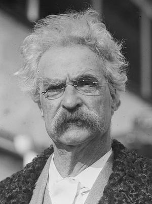 American writer Mark Twain (1835-1910) in 1909