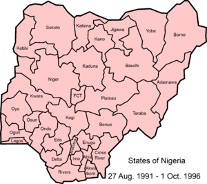 Map of Nigerian states, 27 August 1991 - .