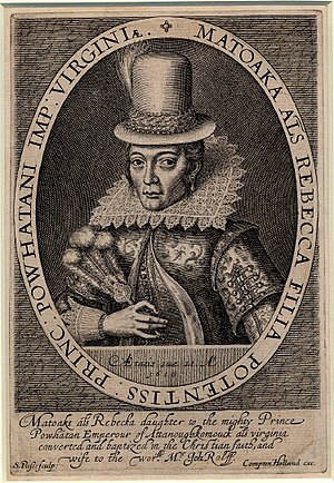 English: Portrait of Pocahontas, wearing a tal...