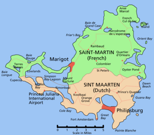 Map showing French Saint-Martin (north) and Du...