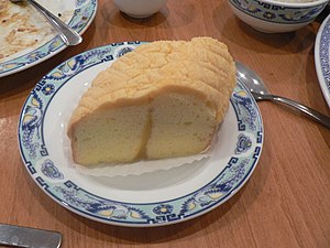 A slice of lemon sponge cake