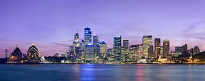 A panoramic view of the Sydney skyline as view...